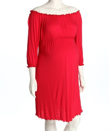 Red Ruched Maternity Dress