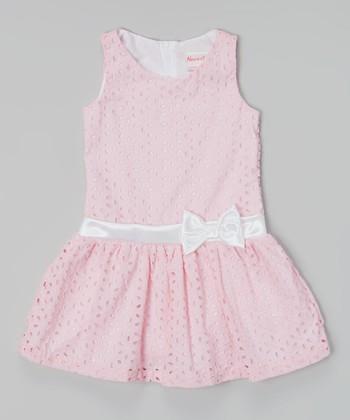 Pink Sleeveless Eyelet Dress - Toddler & Girls