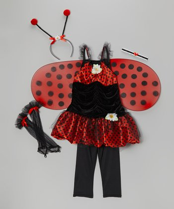 Red & Black Ladybug Dress-Up Set - Girls