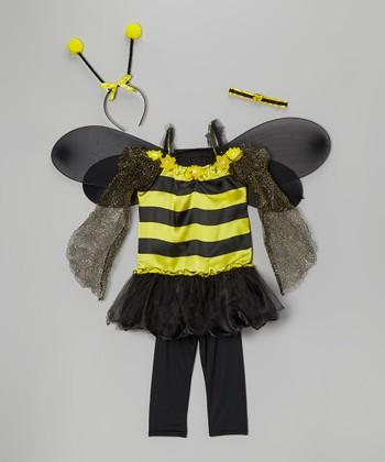 Black & Yellow Bumblebee Dress-Up Set - Girls
