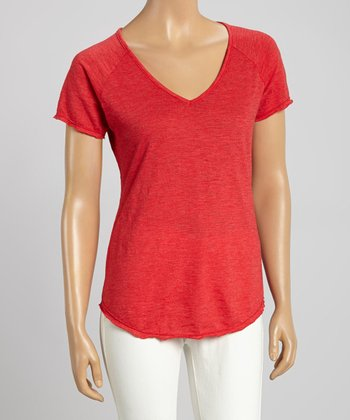 Red Tommy V-Neck Tee - Women