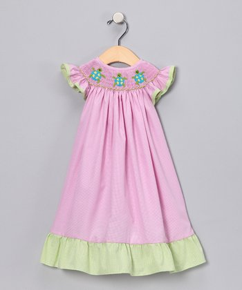 Pink & Lime Turtle Gingham Dress - Infant, Toddler & Girls