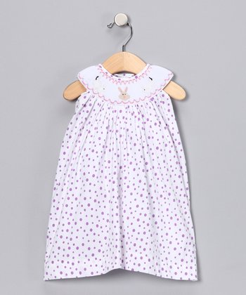 White & Purple Polka Dot Bunny Dress - Infant, Toddler & Girls