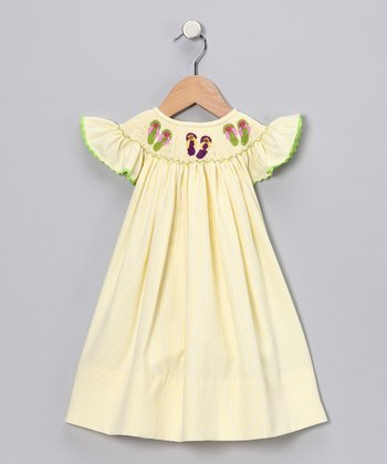Yellow Stripe Flip-Flop Dress - Infant, Toddler & Girls