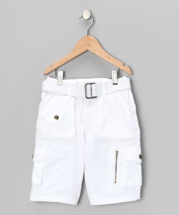 White Cargo Shorts - Boys