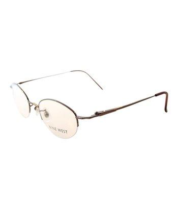 Brown Round Wire-Frame Eyeglasses