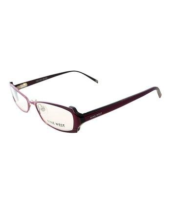 Plum Rectangular Ridge Eyeglasses