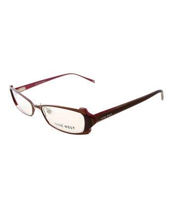 Brown Rectangular Ridge Eyeglasses