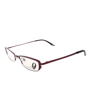 Matte Fuchsia Geometric Horn-Rimmed Eyeglasses