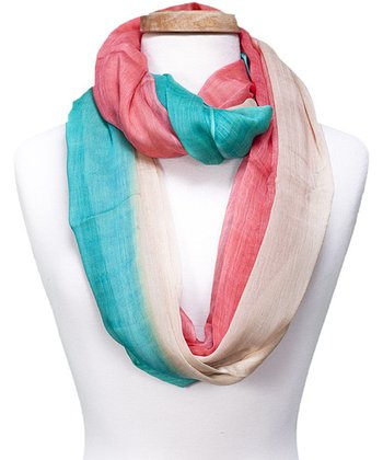 Green & Pink Color Block Infinity Scarf