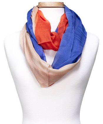 Blue & Red Color Block Infinity Scarf