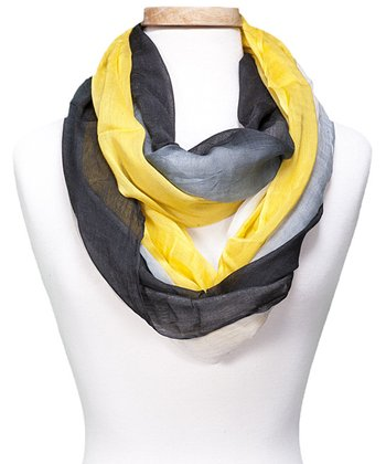 Yellow & Gray Color Block Infinity Scarf