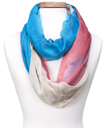Turquoise & Pink Color Block Infinity Scarf