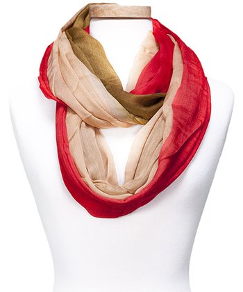 Red & Beige Color Block Infinity Scarf