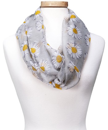 Gray Floral Spring Daisy Infinity Scarf