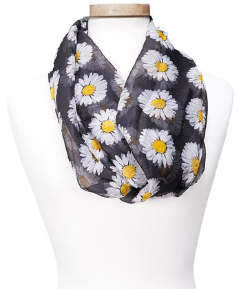 Black Floral Spring Daisy Infinity Scarf