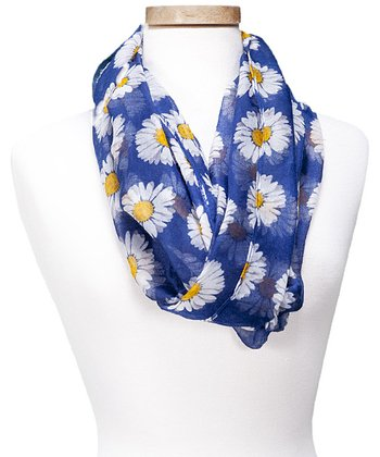 Blue Floral Spring Daisy Infinity Scarf