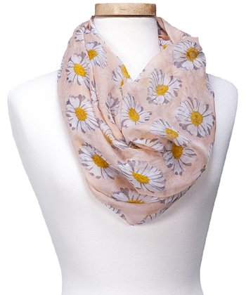 Apricot Floral Spring Daisy Infinity Scarf