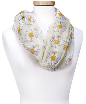 Yellow Floral Spring Daisy Infinity Scarf