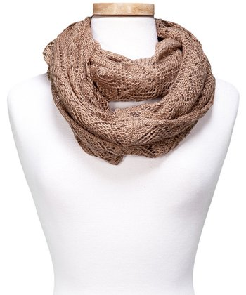 Taupe Crocheted Infinity Scarf