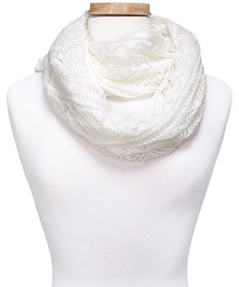 White Crocheted Infinity Scarf