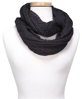 Black Crocheted Infinity Scarf