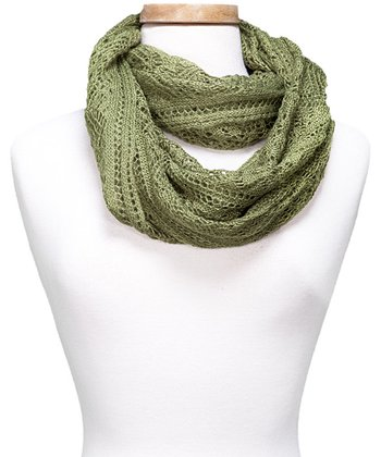 Green Crocheted Infinity Scarf