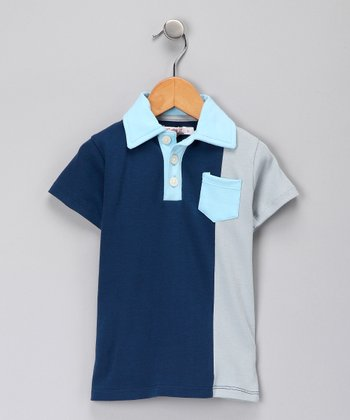 Navy Colorblock Organic Play Polo - Toddler
