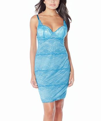 Jade Blue Heartbreaker Lace Slip Dress - Women & Plus
