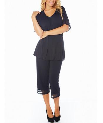 Black My Time Cozy Knit Pajama Top & Capris - Women & Plus