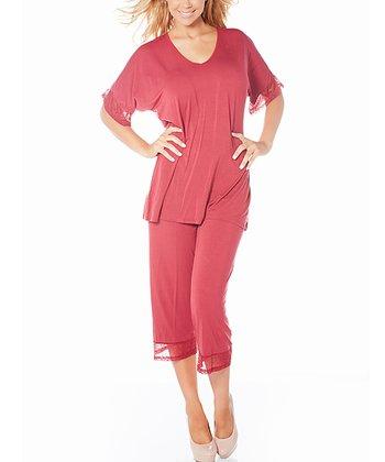 Rhubarb My Time Cozy Knit Pajama Top & Capris - Women & Plus