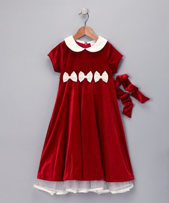 Red & Ivory Velvet Dress - Girls