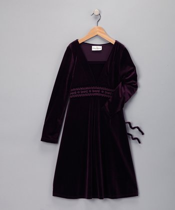 Purple Beaded Velvet Dress - Girls