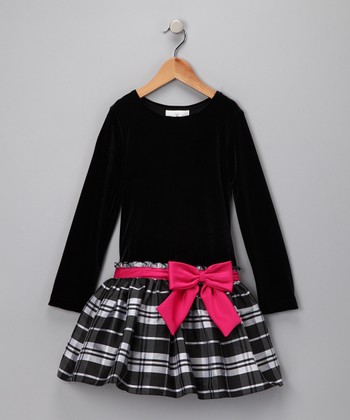Black Plaid Velvet Dress - Girls