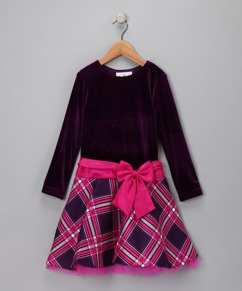 Purple Plaid Velvet Dress - Toddler & Girls