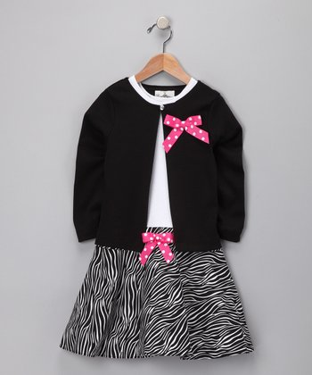 Black Zebra Dress & Cardigan - Toddler & Girls