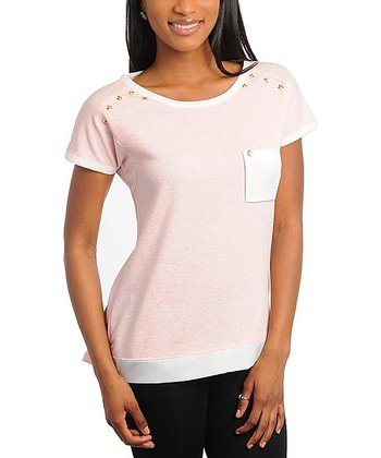 Pink Studded Slip Pocket Cap-Sleeve Tee