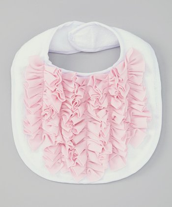 White & Pink Little Lady Ruffle Bib