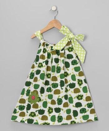 Green Turtle Bow Yoke Dress - Toddler & Girls