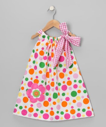 Pink & Green Crazy Dot Bow Yoke Dress - Toddler & Girls