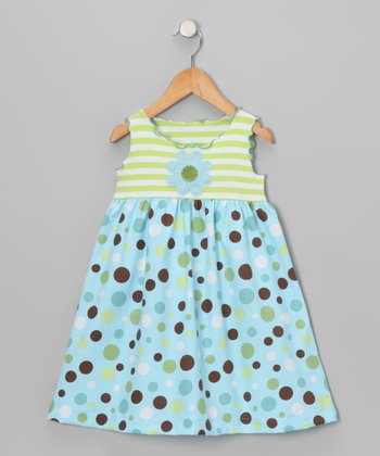 Blue Crazy Dot Babydoll Dress - Toddler & Girls
