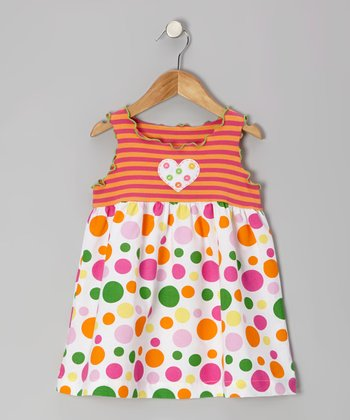 Pink & Orange Crazy Dot Swing Top - Infant, Toddler & Girls