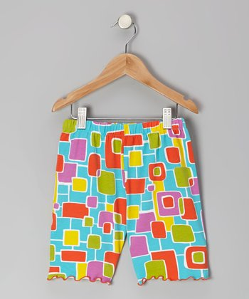 Teal Geometric Bike Shorts - Toddler & Girls