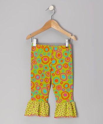 Green Crazy Circle Ruffle Capri Pants - Toddler & Girls