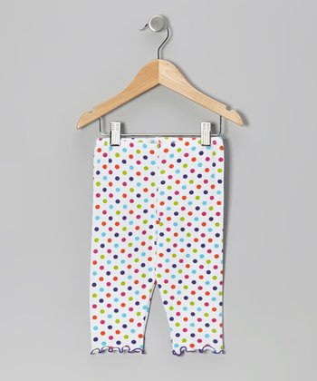 White & Purple Dot Capri Pants - Toddler & Girls