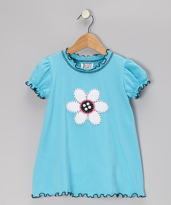 Turquoise Flower Puff-Sleeve Top - Toddler & Girls