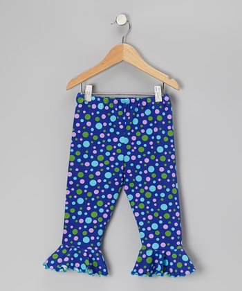 Blue Crazy Dot Flounce Capri Pants - Toddler & Girls