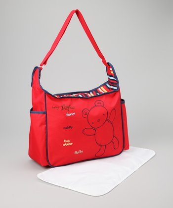 Red Teddy Bear Diaper Bag & Changing Mat