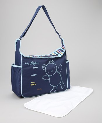 Navy & Light Blue Diaper Bag
