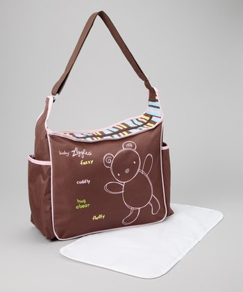 Brown & Pink Diaper Bag